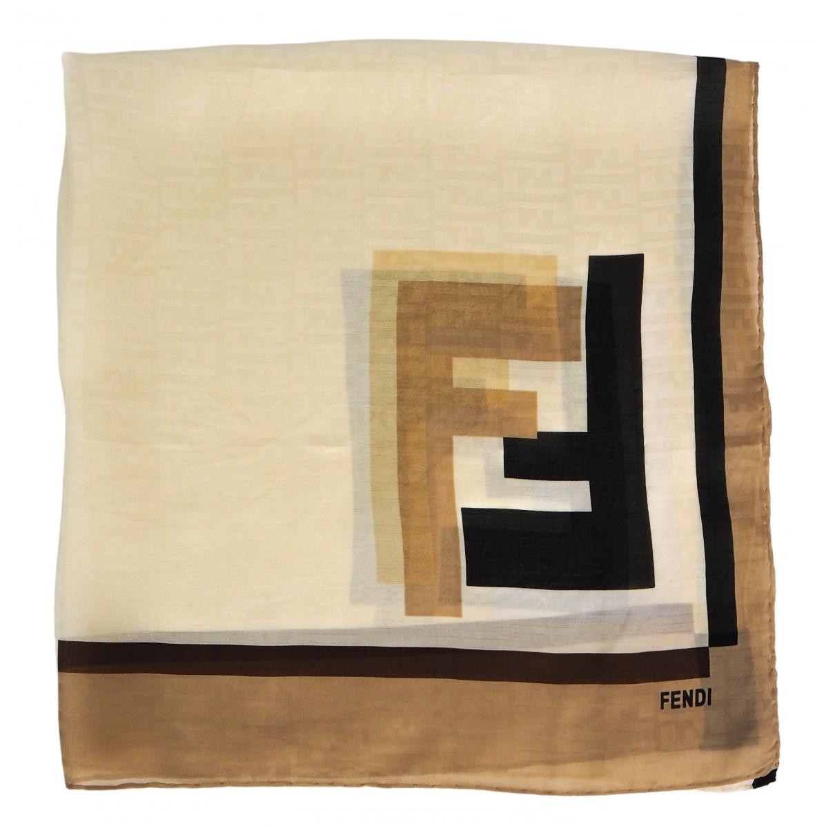 Fendi - Foulard   pour femme en soie - beige