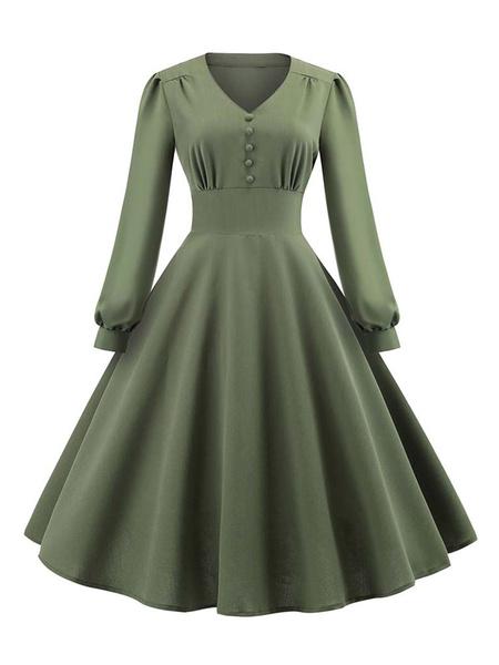 Milanoo Women Retro Dress 1950s V Neck Buttons Long Sleeves Long Swing Dress