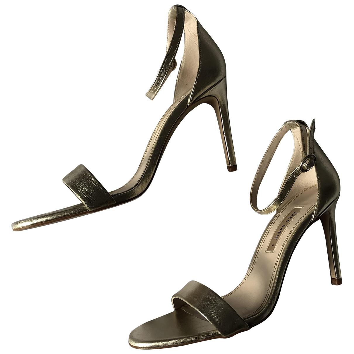 Zara \N Gold Leather Heels for Women 41 EU