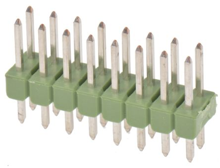 TE Connectivity , AMPMODU MOD II, 16 Way, 2 Row, Straight Pin Header (5)
