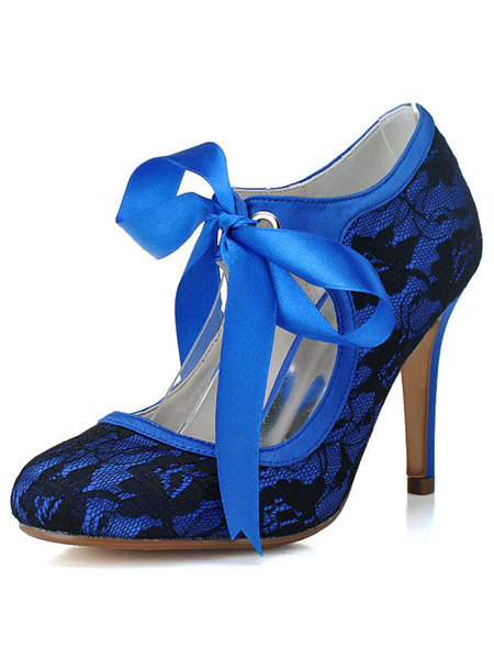 Milanoo Vintage Bridal Shoes Round Toe Stiletto Heel 3.5 Wedding Shoes With Bows