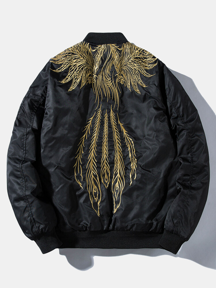 Mens Phoenix Back Embroidered Stylish Zipper Plus Velvet Thick Varsity Jacket