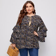 Plus Ditsy Floral Tie Neck Layered Sleeve Blouse