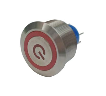 RS PRO Single Pole Double Throw (SPDT) Momentary Red LED Push Button Switch, IP67, 25.2 (Dia.)mm, Panel Mount, Power (20)