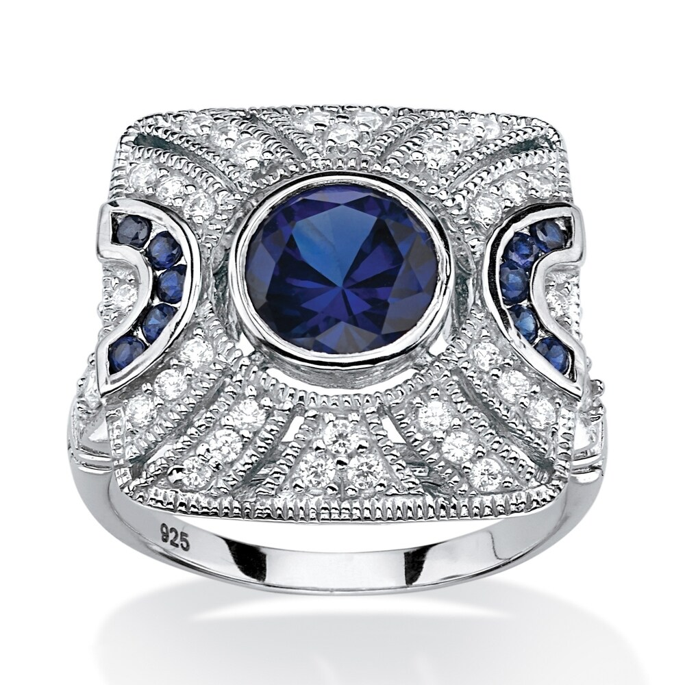 Platinum over Sterling Silver Blue Sapphire and Cubic Zirconia Ring (7)
