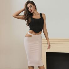Lucra Solid Cut-out Pencil Skirt