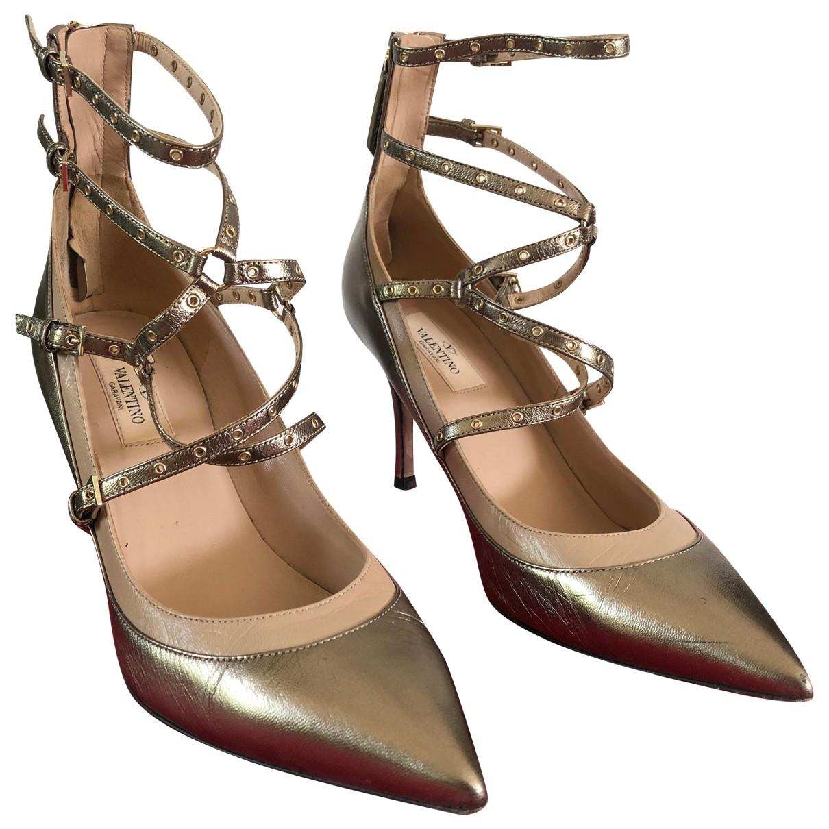 Valentino Garavani Studwrap Gold Leather Heels for Women 38.5 EU