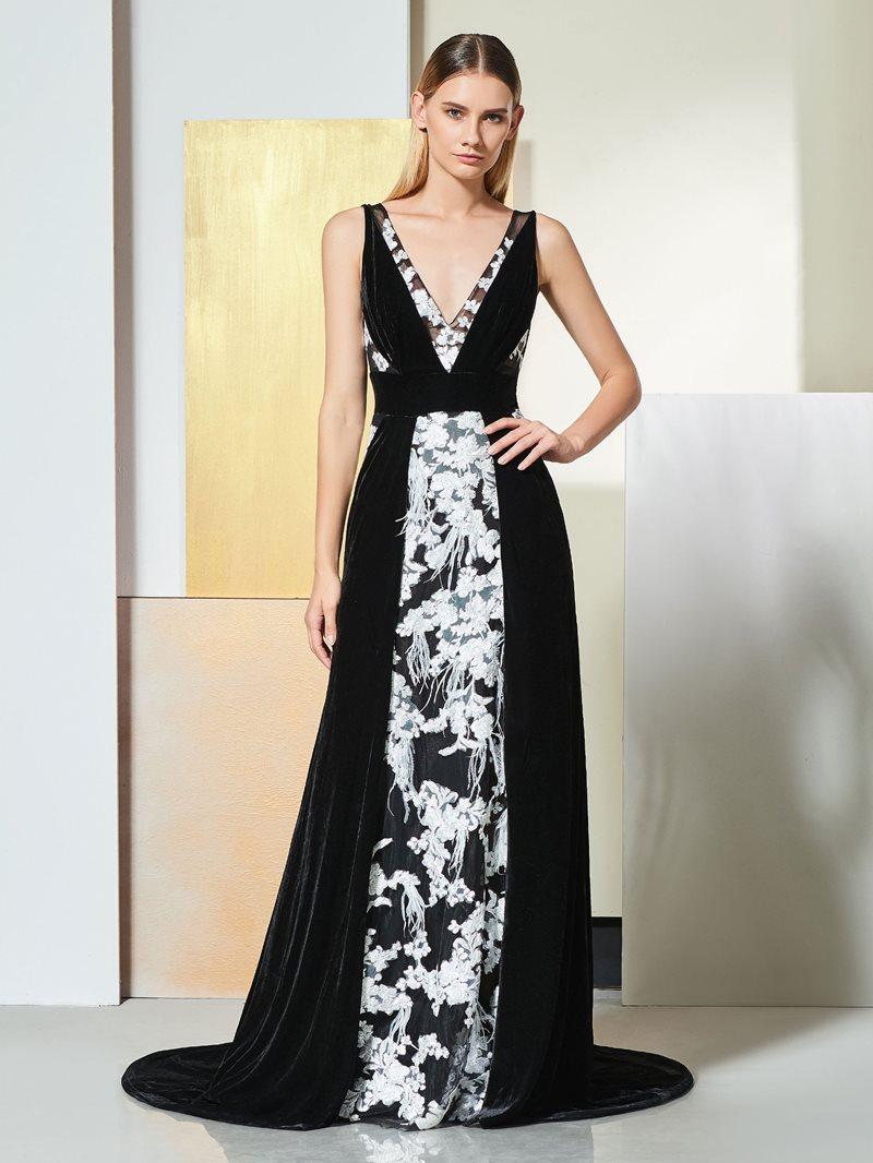 Ericdress A Line V Neck Black Evening Dress With White Applique