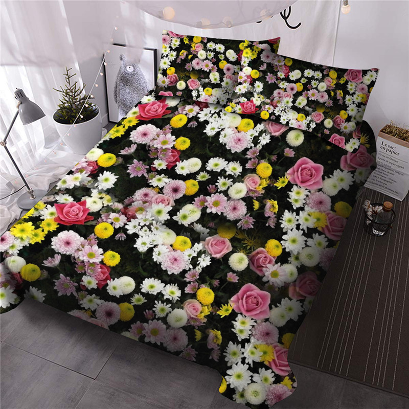 Colorful Daisy Flowers Floral Reactive Printing Comforter Set Three-Piece Set Polyester Bedding Sets