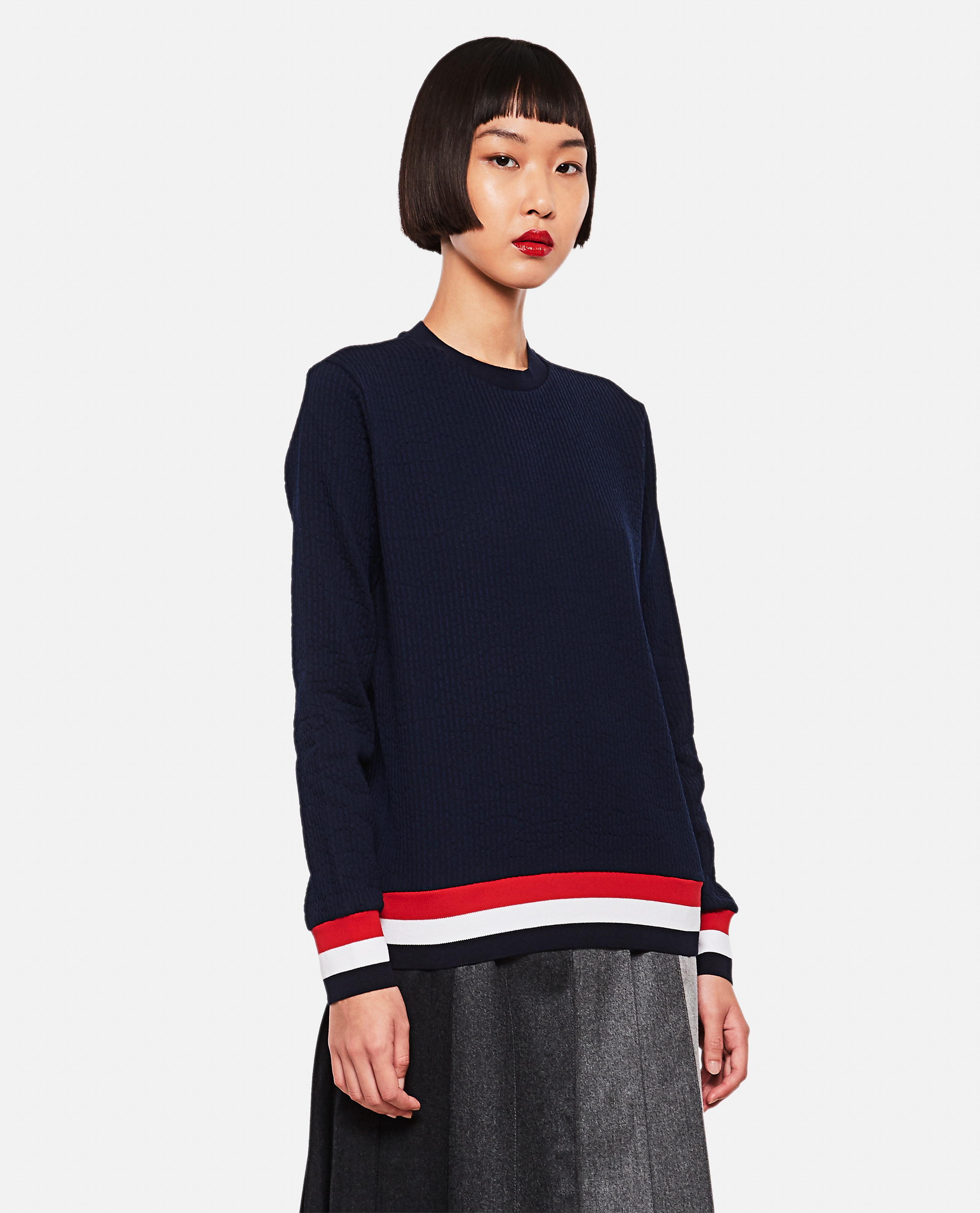 Pleated cotton sweatshirt