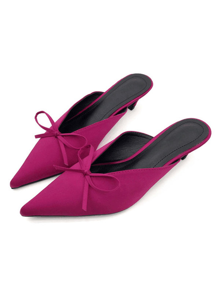 Milanoo Fuchsia Mules Shoes Pointed Toe Bow Kitten Heel Backless Women's Slip On Shoes