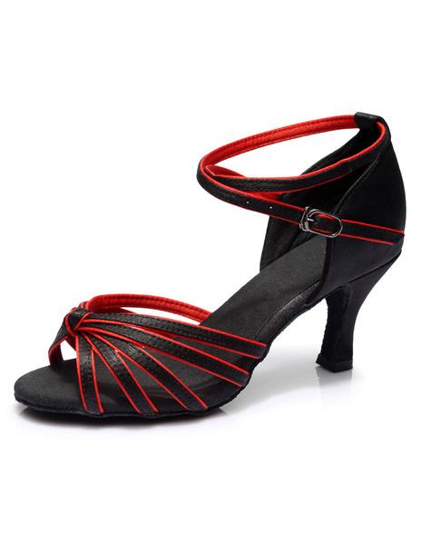 Milanoo Black Latin Dance Sandals Straps Trendy Satin Heels