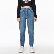 Einfarbige Jeans mit hoher Taille