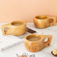 1 pieza taza de te de madera con manija