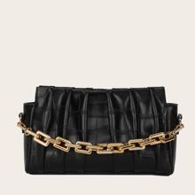 Bolsa con fruncido con asa de cadena con diseño de cocodrilo