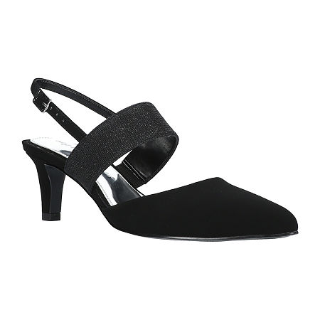 Easy Street Womens Gisella Pumps Spike Heel, 7 Wide, Black