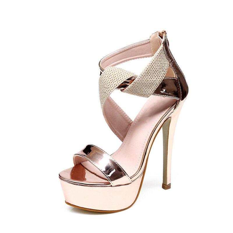 Ericdress Heel Covering Open Toe Zipper Thread Stiletto Sandals