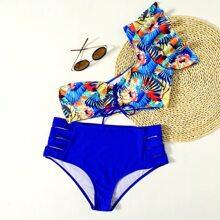 Bikini Badeanzug mit Blumen Muster, Rueschen und Band
