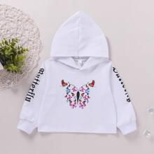 Hoodie mit Schmetterling und Buchstaben Grafik