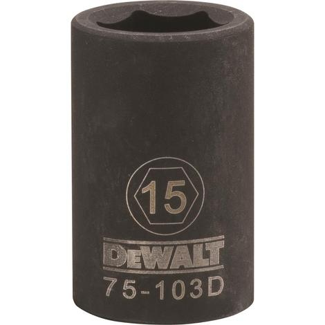 DeWalt 6 Point 1/2# Drive Impact Socket 15 MM