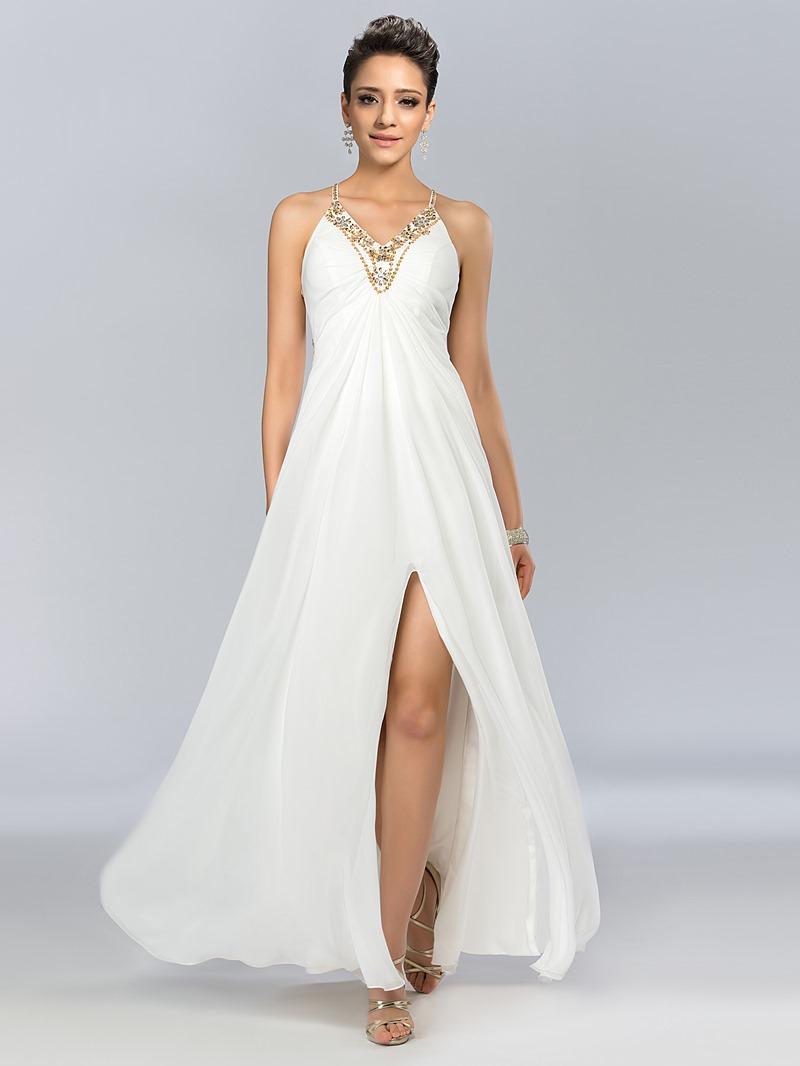 Spaghetti Straps Sheer-Back A-Line Long Prom Dress