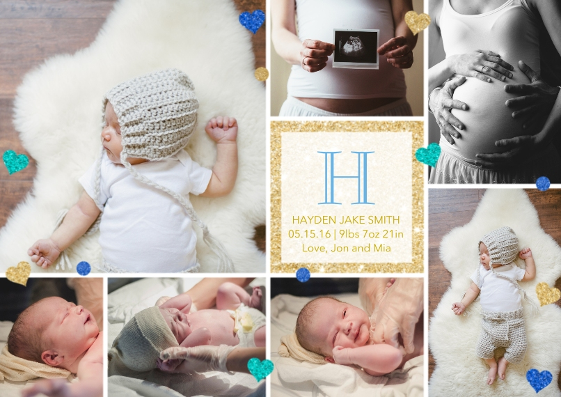 Baby Announcements Flat Matte Photo Paper Cards with Envelopes, 5x7, Card & Stationery -Golden Monogram in Blue by Posh Paper