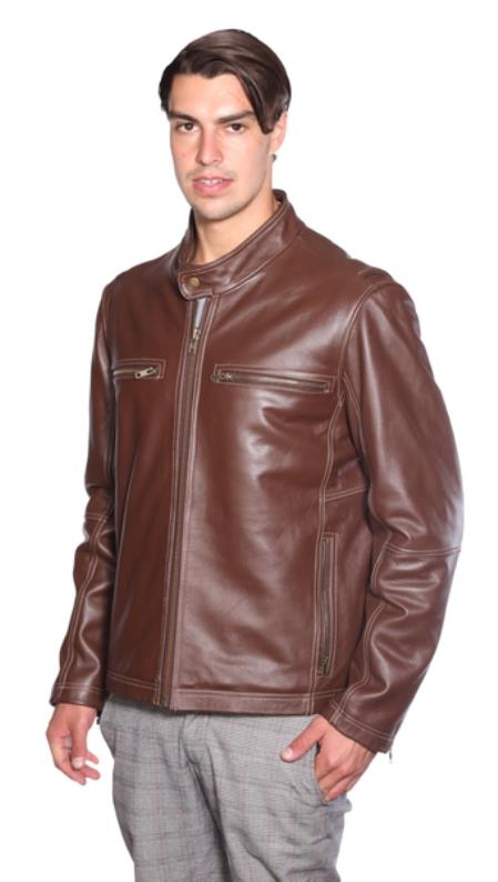 Lance Moto Leather Jacket Brown