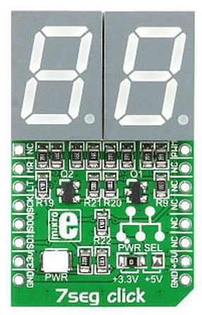 MikroElektronika mikroBus Click add-on 2-digit 7-seg LED