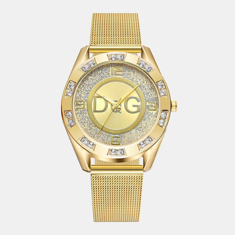 Fashion Luxury Women Watches Crystal Mount Large Three-Hand Dial Mesh Band Quartz Watches