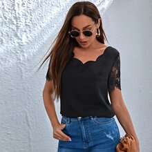 Scallop Neck Lace Sleeve Top