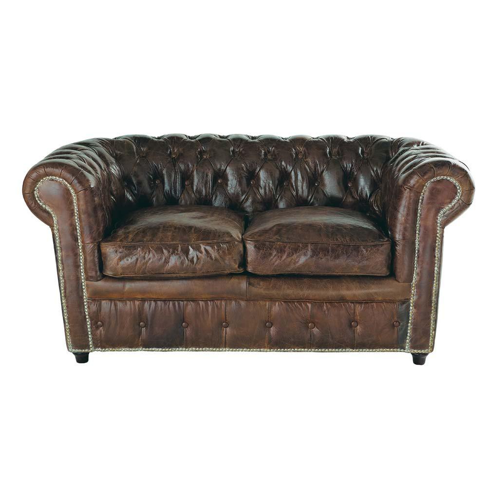 Gestepptes 2-Sitzer Sofa aus Leder, braun Chesterfield