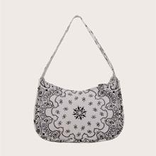 Tribal Graphic Baguette Bag