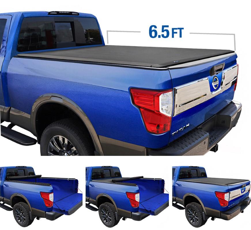Tyger Auto TG-BC1N9033 T1 Soft Roll Up Truck Bed Tonneau Cover (6.5-Feet) Nissan Titan w/out Titan Box 2004-2015