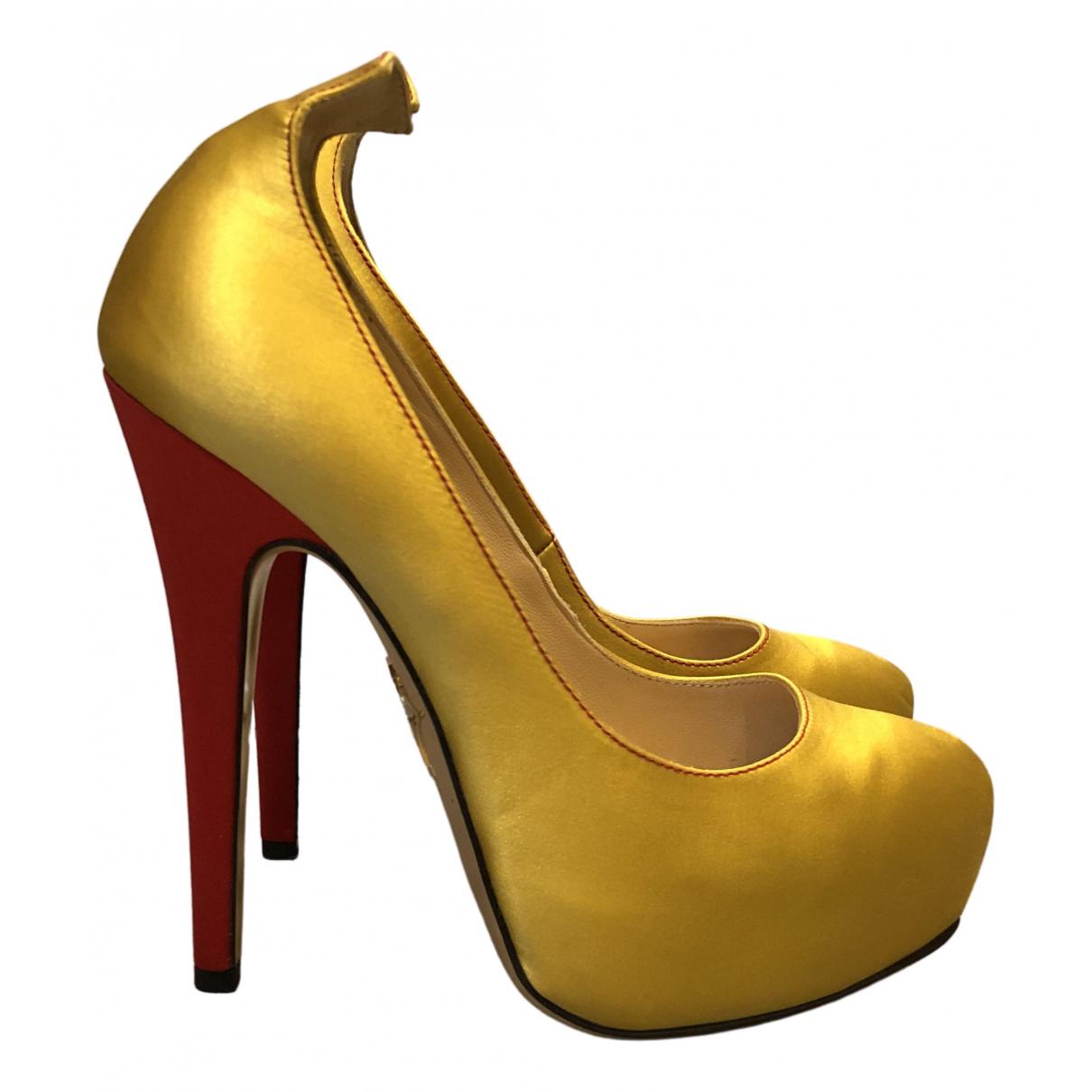 Charlotte Olympia \N Pumps in  Gelb Leinen