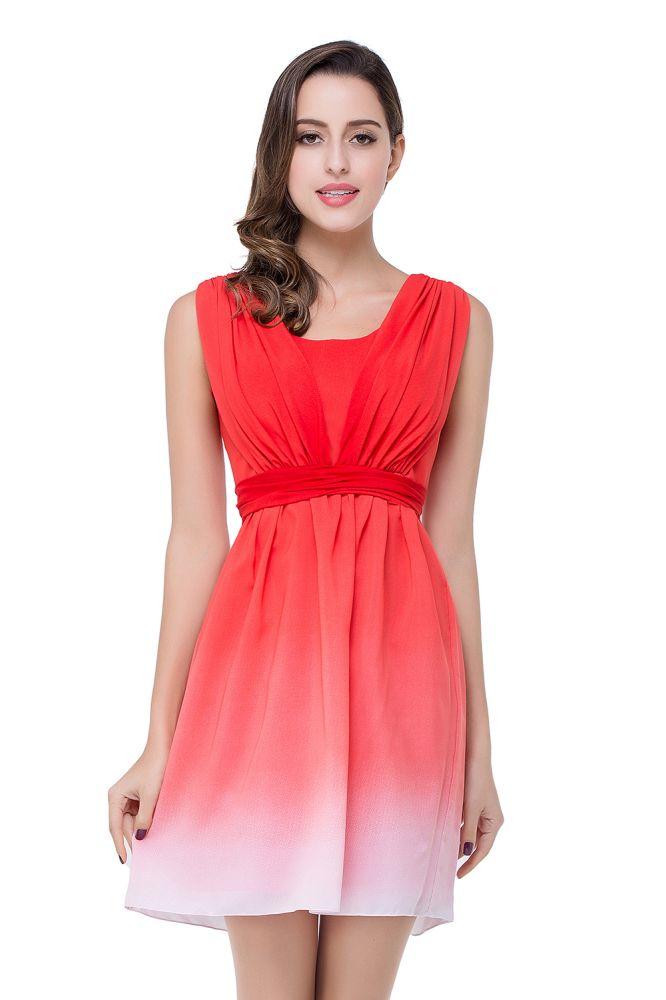 ADRIANA | Vestido de dama de honor rojo joya A-line
