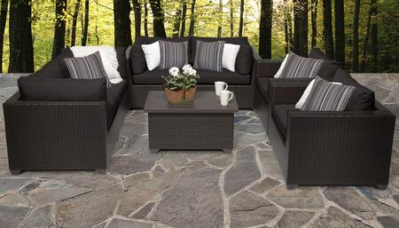 Belle Collection BELLE-07c-BLACK 7-Piece Patio Set 07c with 4 Corner Chair   1 Coffee Table   2 Club Chair - Wheat and Black