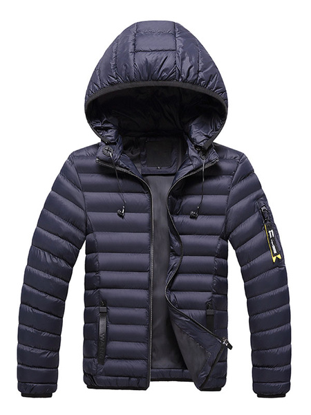 Milanoo Men Overcoat Casual Hooded Long Sleeve Overcoat Black Cotton Fill Quilted Coat