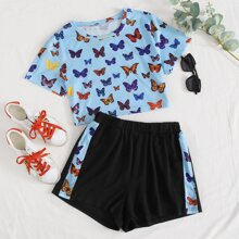 Plus Butterfly Print Tee & Track Shorts
