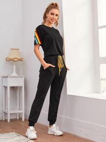 Rainbow Striped Tee & Knot Front Sweatpants