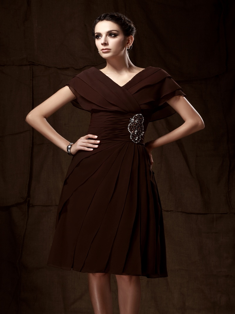 Attractive Caystal Floral Pin A-Line Knee-Length V-Neck Taline's Mother of the Bride Dress