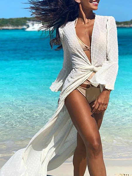 Milanoo Cover Ups For Women White Color Block V Neck Long Sleeves Oversized Polyester Summer Sexy Swimming Suits