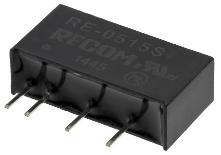 Recom RE 1W Isolated DC-DC Converter Through Hole, Voltage in 4.5 → 5.5 V dc, Voltage out 15V dc