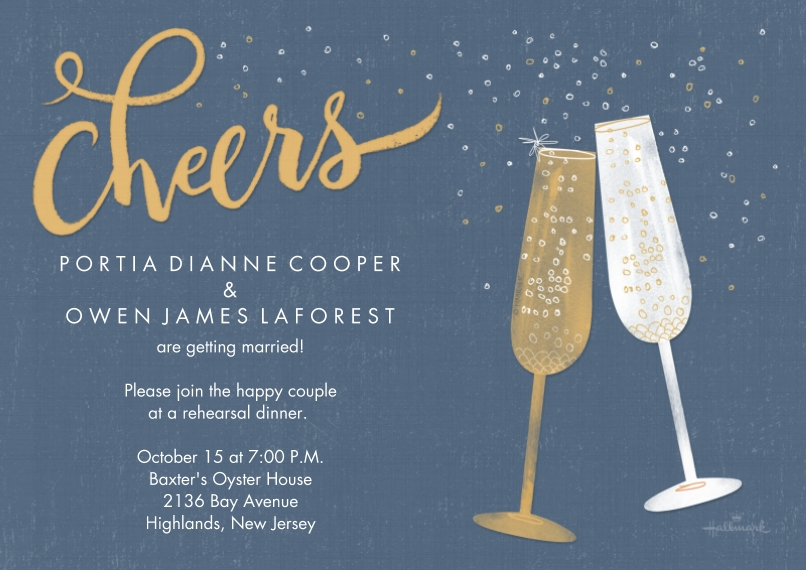 Anniversary Invitations 5x7 Cards, Premium Cardstock 120lb, Card & Stationery -Sparkling Champagne Toast