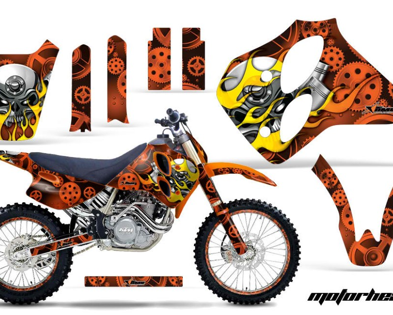 AMR Racing Graphics MX-NP-KTM-C0-93-97-MO O Kit Decal Sticker Wrap + # Plates For KTM SX/XC/EXC/LC4 1993-1997áMOTORHEAD ORANGE