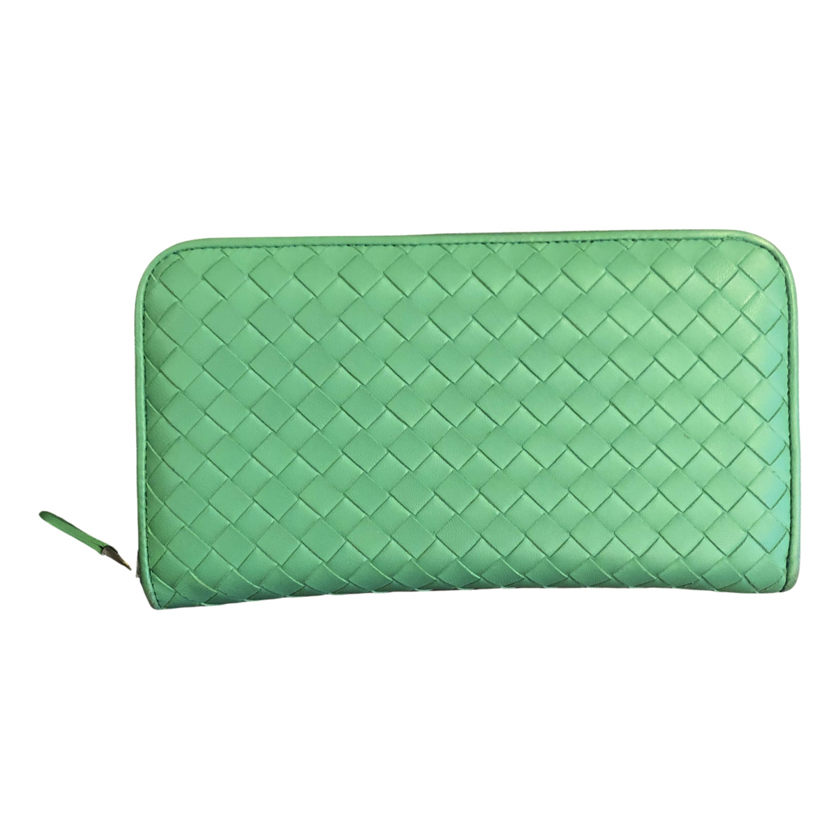Bottega Veneta - Portefeuille Intrecciato pour femme en cuir - vert