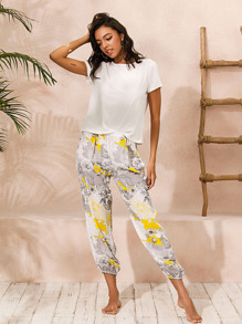 Solid Round Neck Tee With Floral Print Pants PJ Set