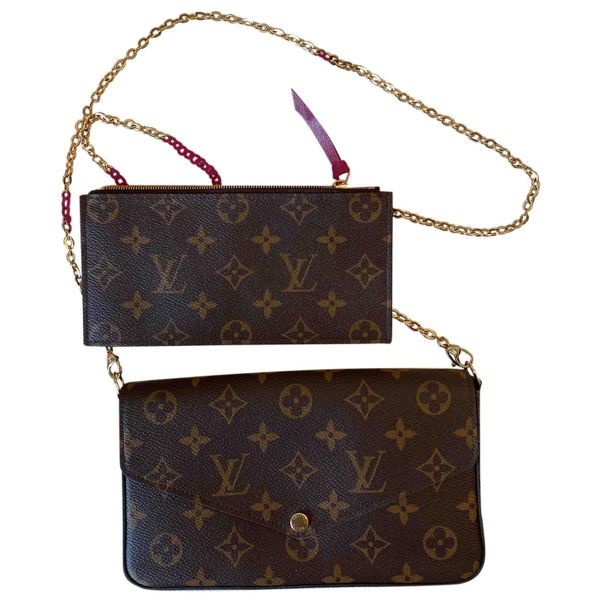 Louis Vuitton Félicie Brown Cloth Clutch bag for Women N