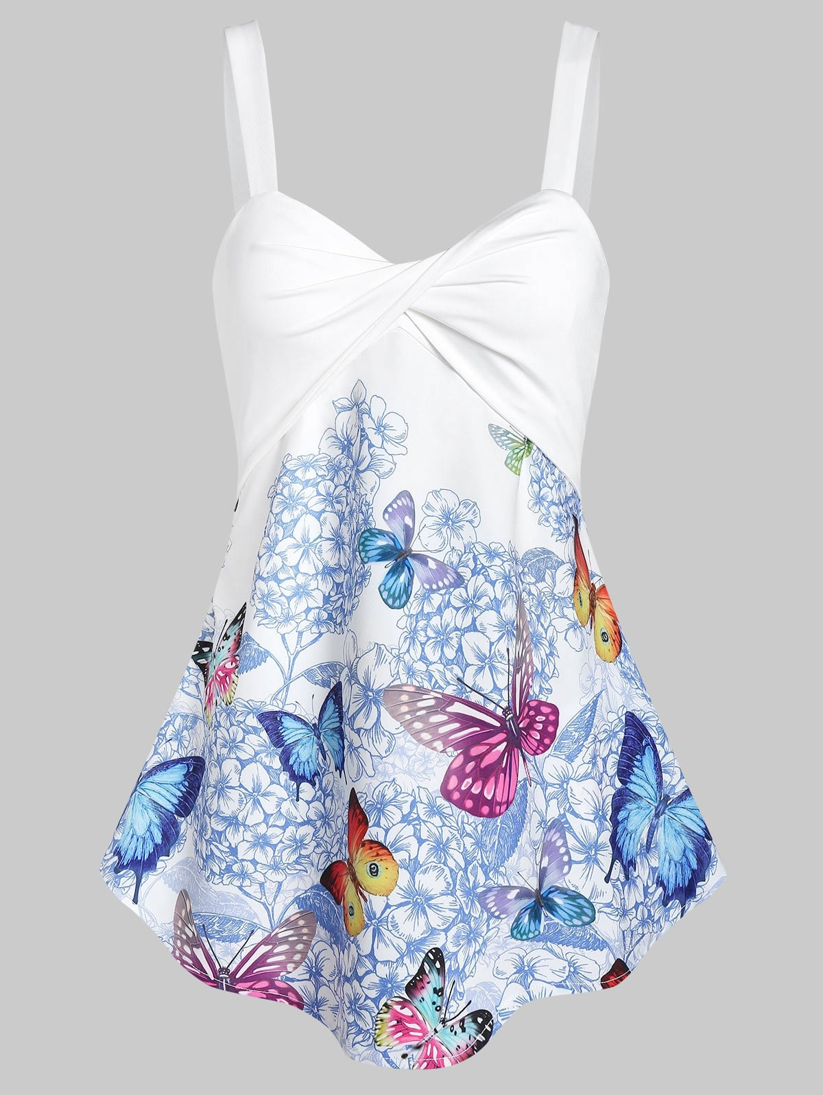 Floral Butterfly Print Twisted Trapeze Tank Top