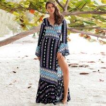 Kleid mit V Kragen, Schosschenaermeln, Schlitz und Stamm Muster