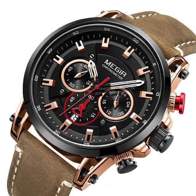 Military Style Quartz Watch Date Chronograph Multifunction Quartz Watch Fashion Men Wrist Watch